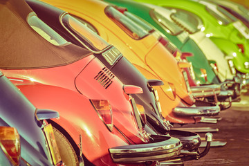 Row of colorful classic cars