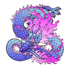 Playful violet Asian dragon on white