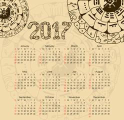 Calendar 2017 with maya symbolics