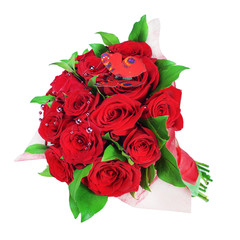 Colorful flower bouquet from red roses a isolated on white background.