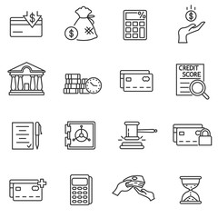 Credit, icons set. Loan processing collection. Issuance of credit. Use credit card. Thin line design. Vector linear illustration.