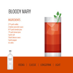 Glass of cocktail bloody mary on white background. Cocktail menu