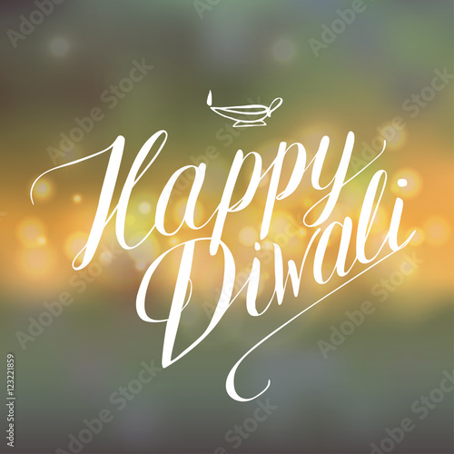 Quot happy diwali calligraphy on lights background stock