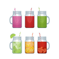 Set of different alcohol cocktail and smoothie mason jar. Bar me