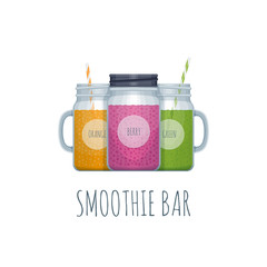 Smoothie bar logotype. Smoothie mason jar. Vector illustration.
