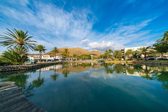 lake, palm trees and mountain