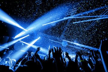 Obraz night club party festival dj with crowd of people - fototapety do salonu