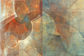 Abstract fractal background. Abstract painting in pastel colors viewed like a cave images. Textured image in rose, blue, cyan, red colors. For your creative design.