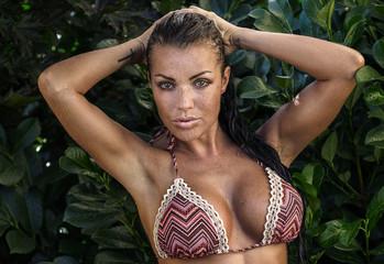 Natural sexy girl posing in bikini.