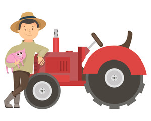 farmer , pig , farm tractor, vector
