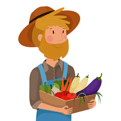 a farmer with a basket of vegetables , vector graphics