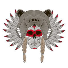 Indian skull , feathers , bear head, Indian culture , vector graphics