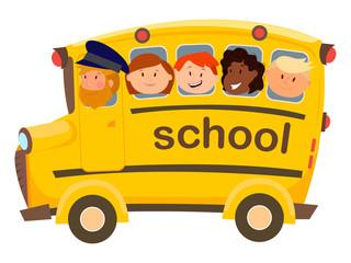 school bus , children , students , vector graphics