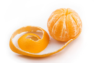 Peeled mandarin fruit
