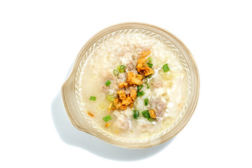 Rice soup from top view,isolated on white background.
