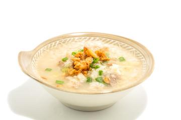 Thai rice soup on white background.