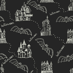 Vector seamless pattern for Halloween. Pumpkin, castle, witch, items on Halloween theme. Bright cartoon pattern for Halloween