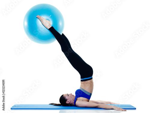 woman fitness pilates exercices isolated stockfotos und lizenzfreie bilder auf. Black Bedroom Furniture Sets. Home Design Ideas