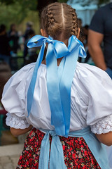 Detail of traditional Hungarian folk costume for women