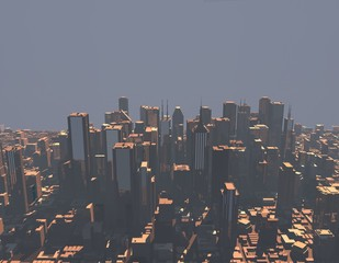 3D model of city.3D rendering illustration.
