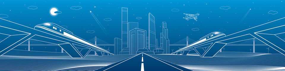 Wall Mural - Infrastructure panorama. Highway, two trains traveling on bridges, business center, architecture and urban, neon city, white lines composition on blue background, vector design art