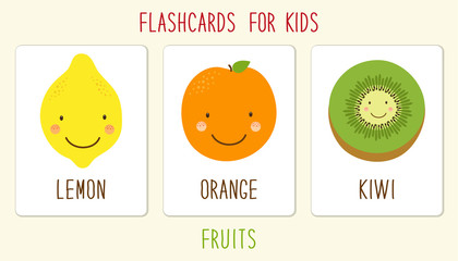 Useful flashcards for kids education as cute hand drawn smiling cartoon characters of fruits