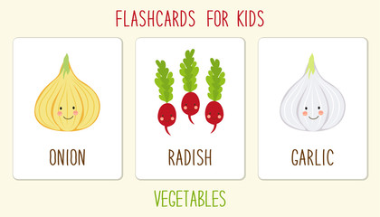 Useful flashcards for kids education as cute hand drawn smiling cartoon characters of vegetables