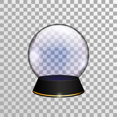 Transparent snow globe or divination ball. Vector