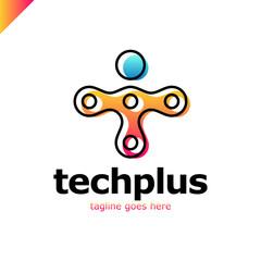 T letter logo icon template.Technology,network,digital,Vector Illustration. Tech plus. Link man logotype