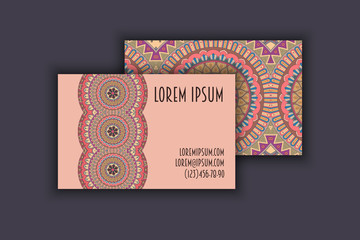 Vector vintage visiting card set. Floral mandala pattern and ornaments. Oriental design Layout. Islam, Arabic, Indian, ottoman motifs.