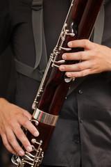 Bassoon in closeup musician hands
