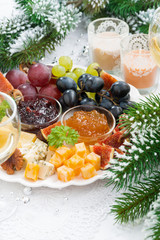 delicacy cheese and fruit plate, vertical