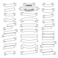 Vintage ribbon black set stroke line style. Vector Illustration