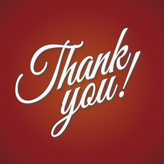 Thank you card with shadow on red background. Vector Illustration