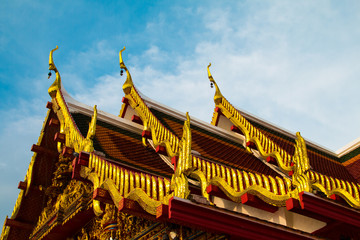 The top roof of church of buddhism ,Wat Phra That Choeng Chum