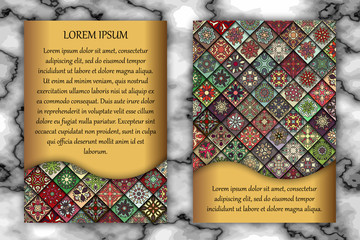 Invitation or greeting card design template. Vintage decorative elements with mandala, delicate floral pattern.