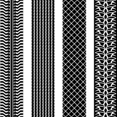 Seamless tire tracks vector template set.