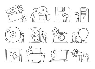 Electronic icons set of sketch working little people