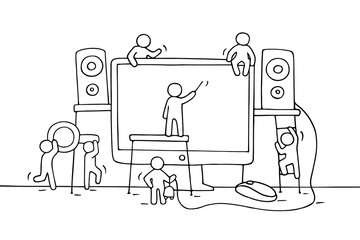 Sketch of working little people with computer.
