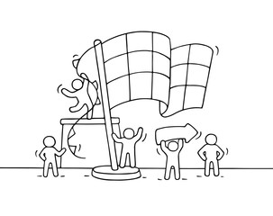 Sketch of working little people with finish flag