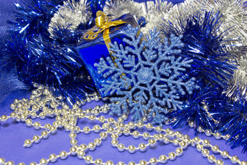 christmas decoration- blue sparkle snowflake and silver baeds