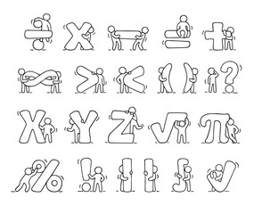working little people with mathematical symbols.