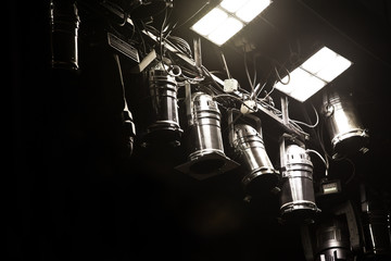 Lightning equipment in the theater closeup in dark colors Fototapete