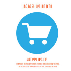 Shopping cart vector icon. Simple isolated round white blue sign purchase symbol.