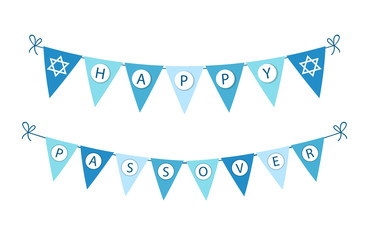 Cute festive bunting flags for Pesach (jewish holiday Passover) for your decoration
