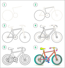 Page shows how to learn step by step to draw a toy bike. Developing children skills for drawing and coloring. Vector image.