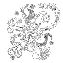 Hand drawn pattern in style art doodles. Black and white ornament for cards, wedding invitations, greeting, branding, label, placard, banner. Coloring page book for adults and children. Tattoos.