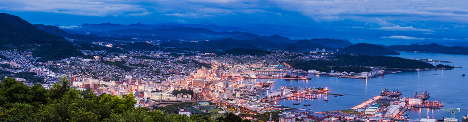 Sasebo city skyline view from mount Yumihari overlook Nagasaki,