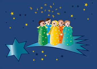 coro di angeli su stella cometa