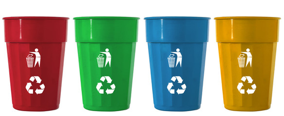 Trash Bin mix color with recycle logo